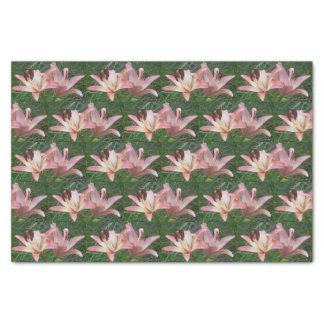 Pink Lilies w/Green Grass Tissue Paper | Flowers