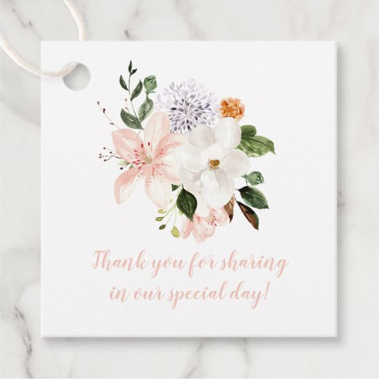 Pink Lilies, White Magnolias, Peonies, Roses | Favor Tags