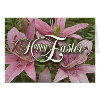 Pink Lillies Easter Note Card