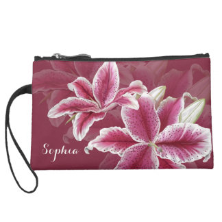 Pink Lillies Suede Wristlet
