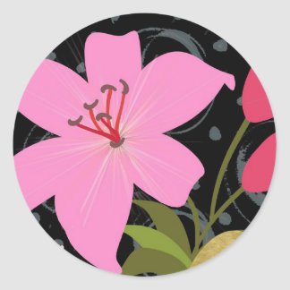Pink Lilly Classic Round Sticker