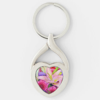Pink lily and dahlia floral print keychain
