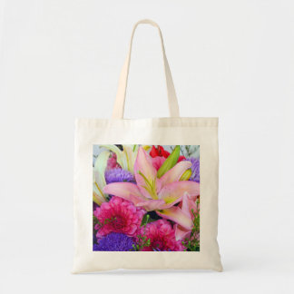 Pink lily and dahlia floral print tote bag