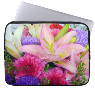 Pink lily and dahlia flowers laptop sleeve