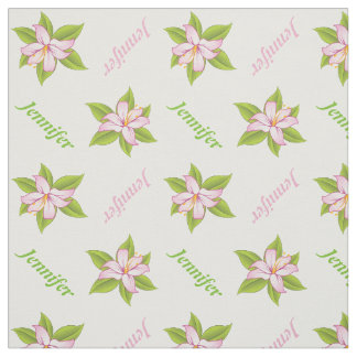 Pink lily and name personalized floral fabric