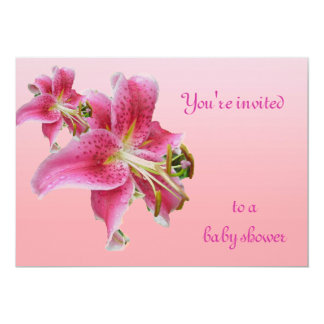 Pink Lily Baby Shower Floral Invitation
