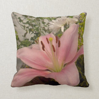 Pink Lily/Bless This Home Throw Pillow