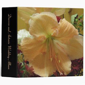 Pink Lily Bouquet Custom Wedding Album Binder