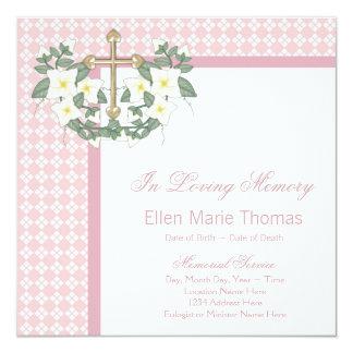 Pink Lily Cross In Loving Memory Memorial Card