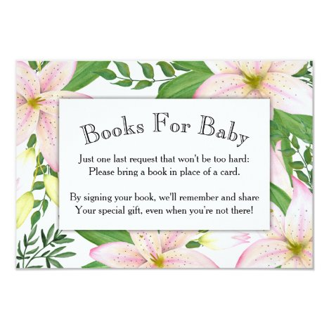 Pink Lily Floral Baby Shower Book Card