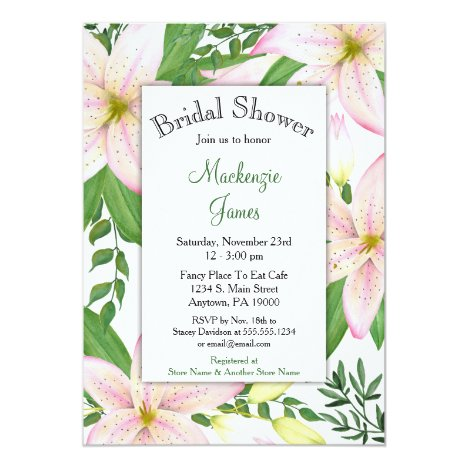 Pink Lily Floral Bridal Shower Invitation Lilies