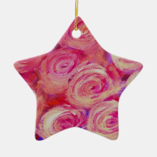Pink Lily Floral Design Double-Sided Star Ceramic Christmas Ornament