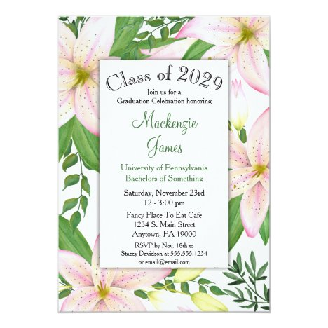 Pink Lily Floral Graduation Invitation Girls Woman