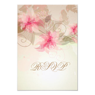 """Pink Lily Floral 3.5"""" X 5"""" Invitation Card"""