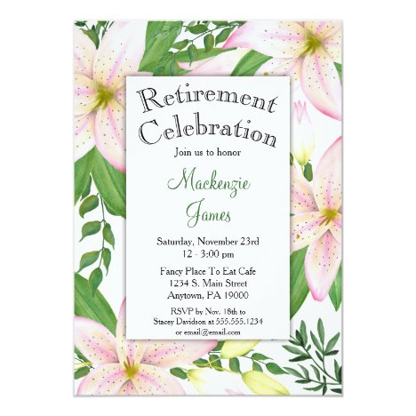 Pink Lily Floral Retirement Invitation