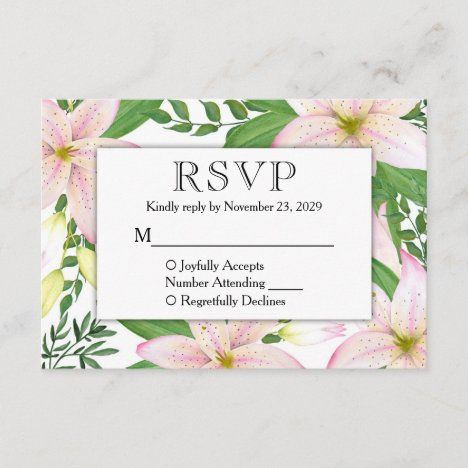 Pink Lily Floral RSVP Lilies Wedding Response