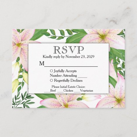 Pink Lily Floral RSVP Wedding Response w/ Meals
