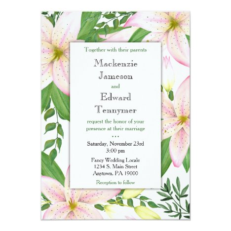 Pink Lily Floral Wedding Invitation Lilies