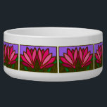 "Pink Lily Flower Pattern Ceramic Dog Bowl<br><div class=""desc"">This custom Pink Lilly Flowers Pattern Ceramic Dog Bowl is a cute choice for a large dog. Our cool and unique designer dog bowl makes a charming gift for your very best friend.</div>"