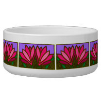 Pink Lily Flower Pattern Ceramic Dog Bowl