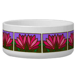 Pink Lily Flower Pattern Ceramic Dog Bowl