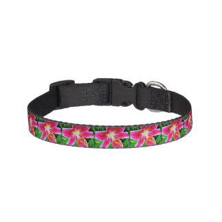 Pink Lily Flower Pet Collar