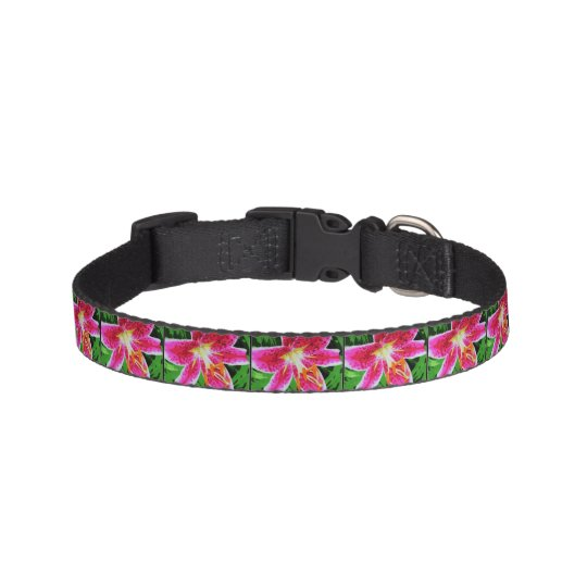 Pink Lily Flower Pet Collar Zazzle