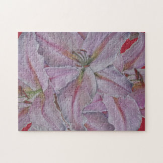 Pink lily flowers floral pastel painting jigsaw jigsaw puzzle