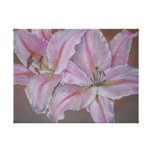 Pink lily flowers realist art canvas print