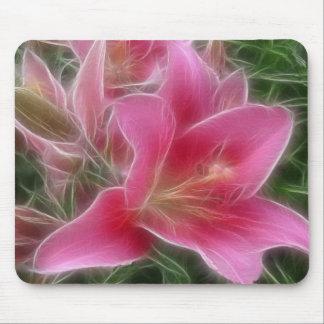 Pink Lily Fractalius Digital Art Mouse Pad