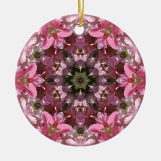 Pink Lily Fusion Kaleidoscope Christmas Ornaments