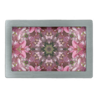 Pink Lily Fusion Kaleidoscope Rectangular Belt Buckle
