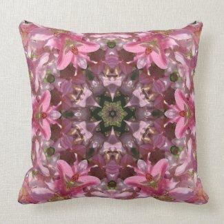 Pink Lily Fusion Kaleidoscope Throw Pillow