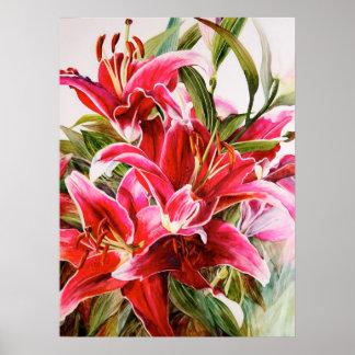 Pink Lily Original Botanical Print Canvas Poster