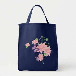 Pink Lily, Purple Butterfly Floral Pattern Totebag Grocery Tote Bag