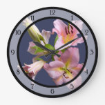 Pink Lily Quartet Clock