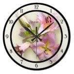 Pink Lily Quartet Round Wall Clock
