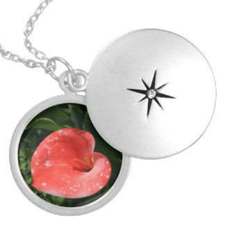 Pink lily round locket necklace