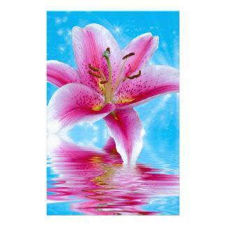 Pink Lily Sparkle Stationery