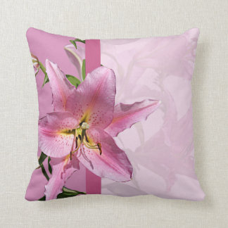 Pink Lily Throw Pillow 2