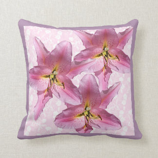Pink Lily Throw Pillow 3