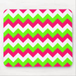 Pink Lime and White Zigzag Mousepad