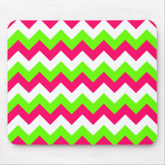 Pink Lime and White Zigzag Mouse Pad