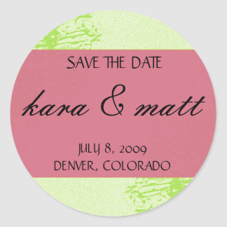 Pink & Lime Blossom Save the Date Round Sticker