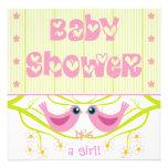 Pink lime cute birdies Baby Shower Invitation