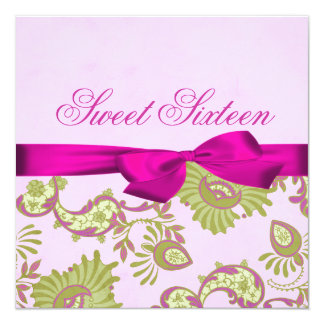 Pink & Lime Floral Bow Birthday Invitation