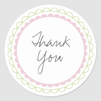 Pink Lime Frills Thank You Label Sticker