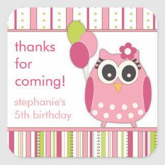 Pink & Lime Girly Owl Birthday Party Favor Sticker