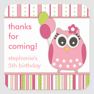Pink Lime Girly Owl Birthday Party Favor Sticker