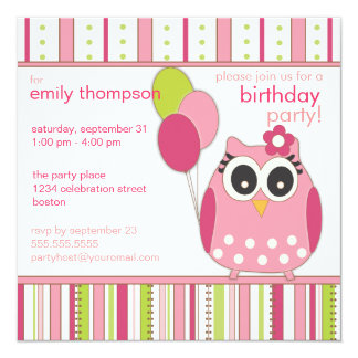 Pink & Lime Girly Owl Birthday Party Invitation